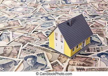 gebäude, yen, haus, ausländische währung, darlehen