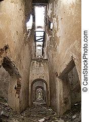 gebäude- ziegelsteine, stein, ruinen, zement