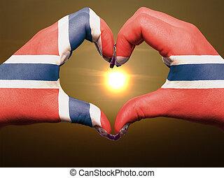 gebaar, gemaakt, door, de vlag van noorwegen, gekleurde, handen, het tonen, symbool, van, hart, en, liefde, gedurende, zonopkomst