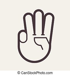 gebaar, met, drie, vingers, op