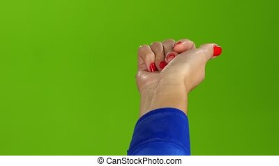 gebaar, van, de, juiste hand, komen, om te, me., groene, scherm