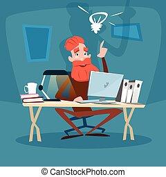 gebaard, gebruik, idee, ouder, computer, zakenman, nieuw, hogere mens
