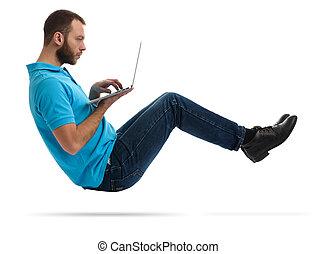 gebaard man, hipster, draagbare computer, jonge