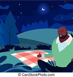 gebaard, picknick, akker, black , sterke, dag, man