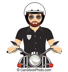 gebaard, politie, brutaal, officier, paardrijden, motorfiets