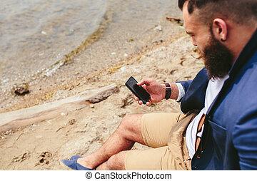 gebaard, telefoon, amerikaan, gebruik, rivier, man