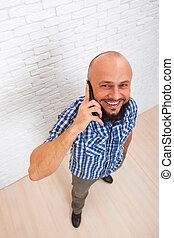 gebaard, zakelijk, bovenzijde, cel telefoongesprek, man, ongedwongen, smart, aanzicht