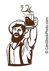 gebaard, zijn, bier, hand, mok, man