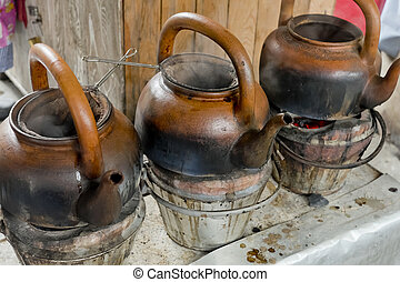 Stehende , brennender, camping, kessel, wasser, kochen,... Stockfoto ...