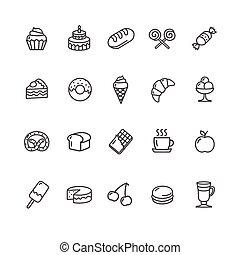 gebakje, set., vector, bakkerij, iconen