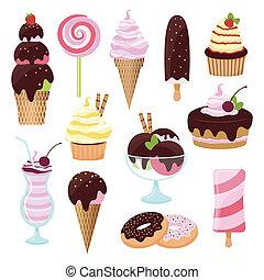 gebakjes, ijs, pictogram, room, set, cakes