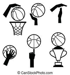 gebaren, basketbal, game., symbolen, set, pictogram