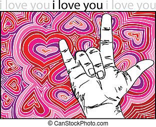 gebarentaal, voor, i houd van u, met, abstract, hartjes,...