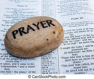 gebed, rots, op, een, open bijbel