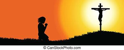 gebed, silhouette, -, tijdsverloop, dekking