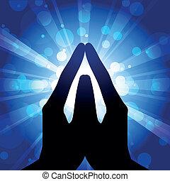 gebed, -, vector, illustratie