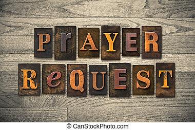 gebed, verzoek, houten, letterpress, concept