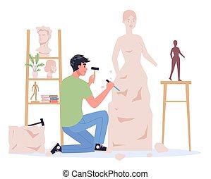 gebeeldhouwd kunstwerk, jonge, creatief, working., makend, ...
