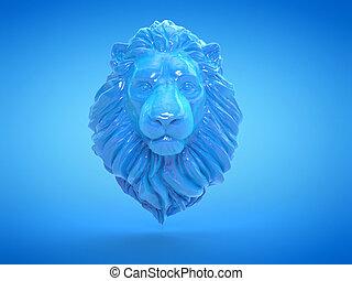 gebeeldhouwd kunstwerk, leeuw, blauwe