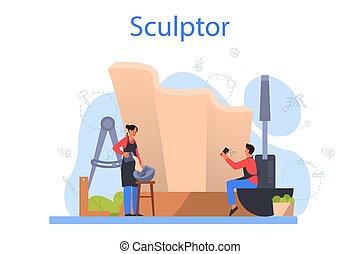 gebeeldhouwd kunstwerk, marmer, professioneel, beeldhouwer, ...
