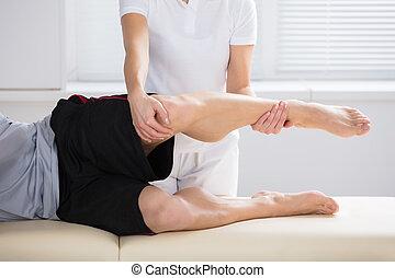 geben, übung, physiotherapeut, nahaufnahme