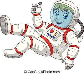geben, astronaut, auf, daumen, karikatur