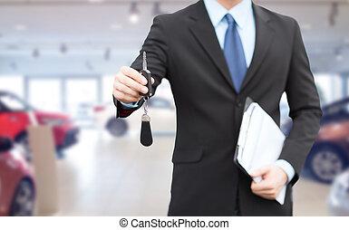 geben, auto, auf, schlüssel, schließen, geschäftsmann, ...