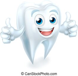 geben, dental, auf, zahn, daumen, maskottchen