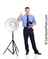 geben, fotograf, daumen, junger, auf