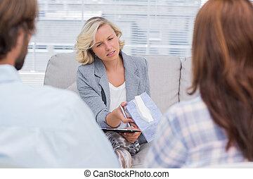 geben, frau, gewebe, therapeut