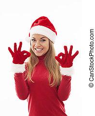 geben, frau, ok, santa, zeichen