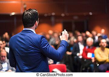 geben, gespräch geschäft, event., öffentlichkeit sprecher