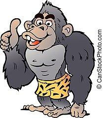 geben, gorilla, daumen