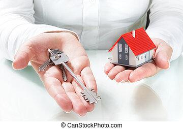 geben, haus, immobilienmakler, schlüssel