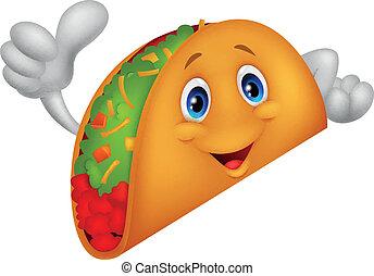 geben, karikatur, taco, auf, daumen