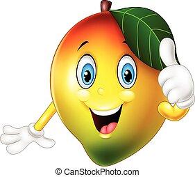 geben, mango, daumen hoch, karikatur