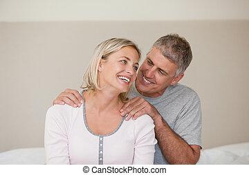 geben, mann, seine, massage, ehefrau