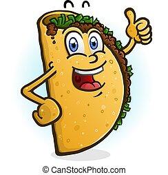 geben, zeichen, auf, daumen, taco, karikatur