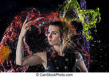 gebespat, vrouw, kleurrijke, wezen, moderne, water