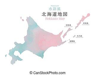gebied, kaart, textuur, watercolor, hokkaido, japan