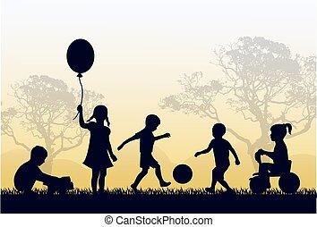 gebied, kindertijd, vrolijke