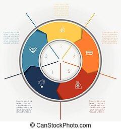 gebied, posities, kleur, pijl, vijf, mal, tekst, ring