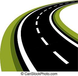 gebogen, asfalteren straat