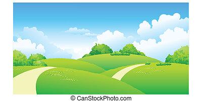 gebogen, aus, grüne landschaft, pfad