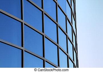 gebogen, buitenkant, vensters, van, een, moderne,...