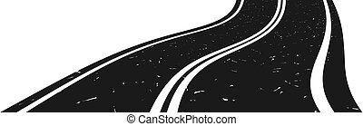 gebogen, gehen, distanz., straße, asphalt