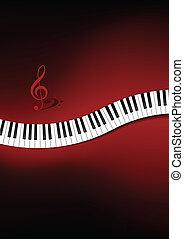 gebogen, piano, achtergrond, toetsenbord