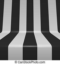 gebogen, senkrechte streifen, hintergrund., vektor, schwarz...