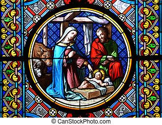 geboorte, bevlekte, bazel, scene., glas venster, cathedral.