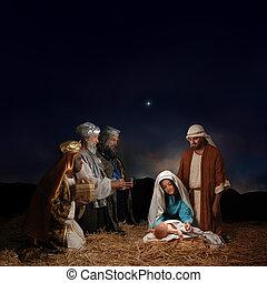 geboorte, mannen, wijs, kerstmis